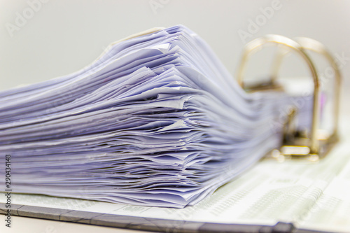 Close up - Many documents white paper are stored with in the Document file, conc Tableau sur Toile