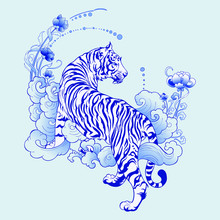 Illustration White Tiger Design In Tattoo  Blue Porcelain For Print Elements Vector With Light Blue Ceramic Color Background