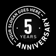 55 Years Anniversary Logo Template. Five Years Celebrating Logotype. Black And White Vector And Illustration.
