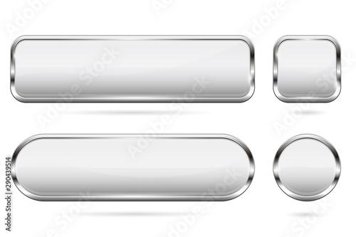 Fototapeta White glass buttons. Set of 3d shiny icons with chrome frame