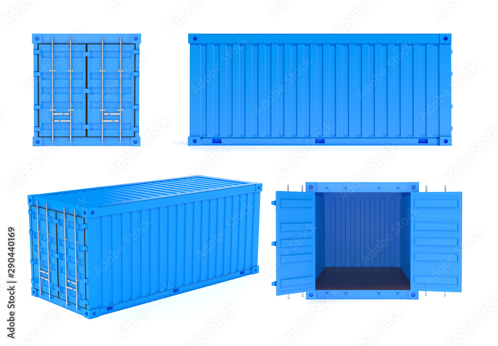 Fototapety, obrazy: Blue shipping freight containers