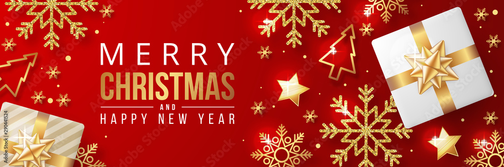 Fototapeta Merry christmas banner with christmas elements on red background. Vector illustration