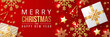 Merry christmas banner with christmas elements on red background. Vector illustration
