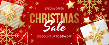 Christmas Sale Banner With Christmas Elements On Red Background. Vector Illustration