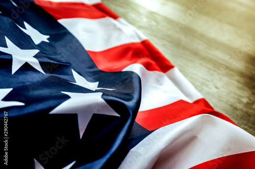 Canvas Prints Textures American flag on the vintage dark wood texture background