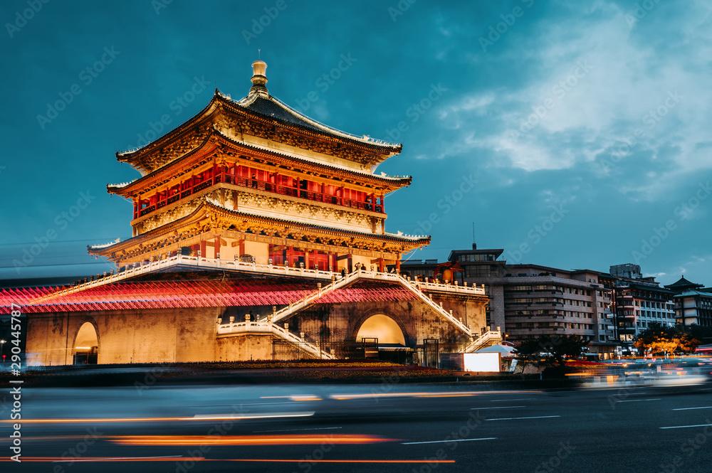 Fototapeta Xi'an bell tower night view