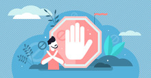 Stop Sign Vector Illustration. Flat Tiny Prohibition Gesture Person Concept