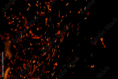 Photo sur Toile Feu, Flamme flame of fire with sparks on a black background