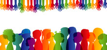 Integration Between Children With Different Cultures And Races. Childhood. Multicultural Kindergarten. Group Of Different Children Profile Silhouette Isolated. Community Of Multi-ethnic Children