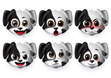 Dogs Emoticon Vector Set.Puppy Dog Emojis With Angry And Shy Expression For Sign And Symbols Isolated In White Background. Vector Illustration 3d Realistic.