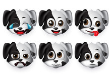 Emojis Dog Vector Set. Puppy Dogs Animal Emoticon Head With Sad And Funny Face For Design Element Isolated In White Background. Vector Illustration 3d Realistic.