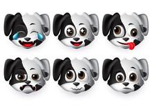 Emojis Dog Vector Set. Puppy D...