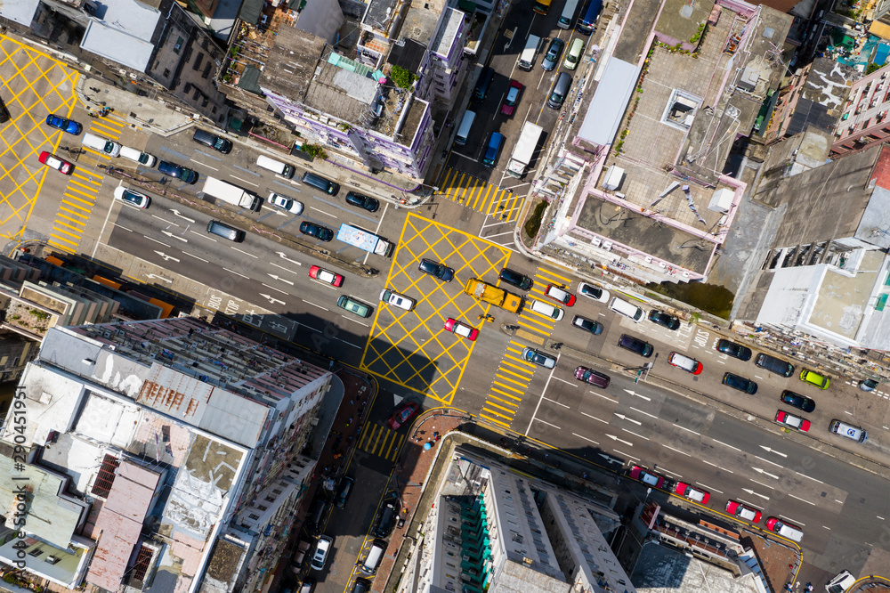 Fototapety, obrazy: Top view of Hong Kong traffic road