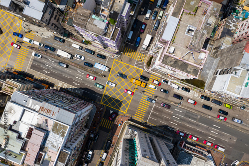 Obraz Top view of Hong Kong traffic road - fototapety do salonu