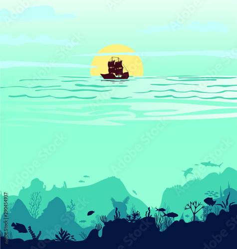 Photo sur Aluminium Vert corail Beautiful sunset with a ship Silhouette of fish and algae on a reef background. Underwater scene of the ocean. Deep blue water, coral reef and underwater plants. vector landscape with a reef. vector,