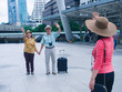 couples elderly and friend travel in city with happy together