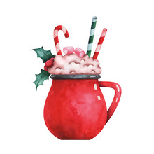 Hand Painted Watercolor Illustration Of Cute Red Cup Of Coffee Decorated With Marshmallows, Holly And Christmas Lollipop Isolated On White Background