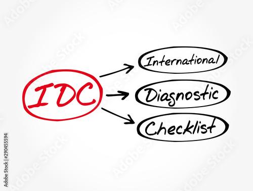 Valokuvatapetti IDC - International Diagnostic Checklist acronym, business concept background