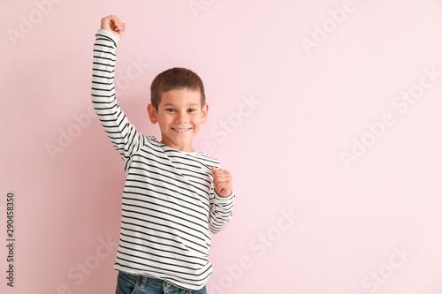 Canvastavla  Portrait of happy little boy on color background