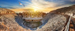 Leinwanddruck Bild - Amphitheater in ancient city of Hierapolis and seagull above it