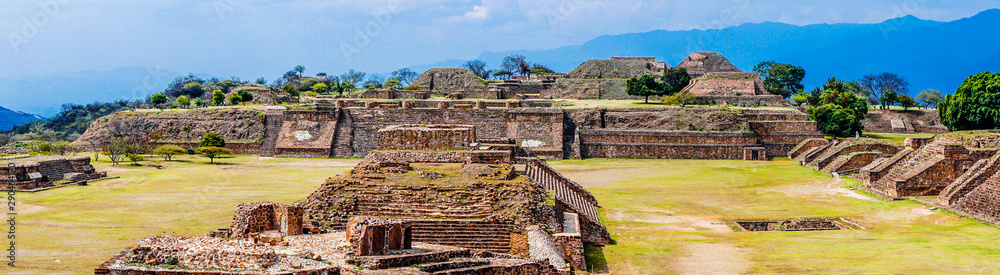 Fototapeta View on Panorama Of Sacred Site Monte Alban In Mexico