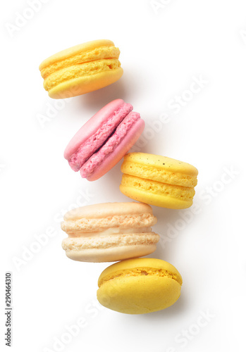 multi-colored macaroons on a white background Canvas Print