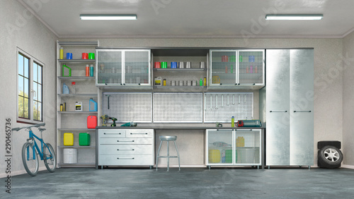 Fotografia, Obraz Modern garage interior. 3d illustration