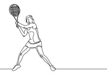 Tennis Player Continuous One Line Drawing Minimalism Style Of Sport Game. Young Girl Playing With Racket During The Match.