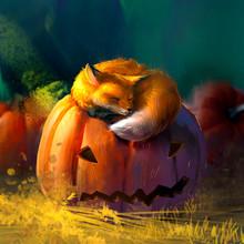 The Fox Is Sleeping On A Pumpkin. Halloween Illustration