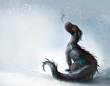 Leinwanddruck Bild - Dragon on the snow illustration
