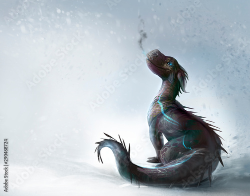 Fotografie, Obraz Dragon on the snow illustration