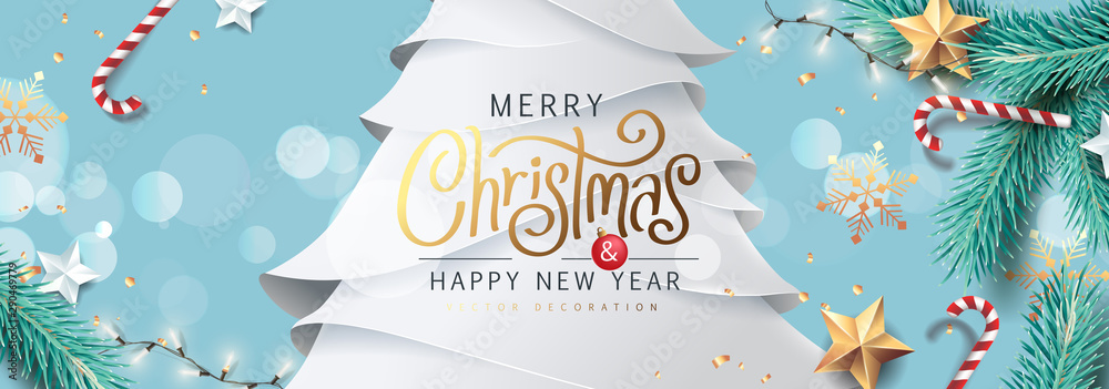 Fototapeta Merry Christmas and Happy New Year background for Greeting cards with tree Branches christmas tree gold paper and gold stars.Merry Christmas vector text Calligraphic Lettering Vector illustration.