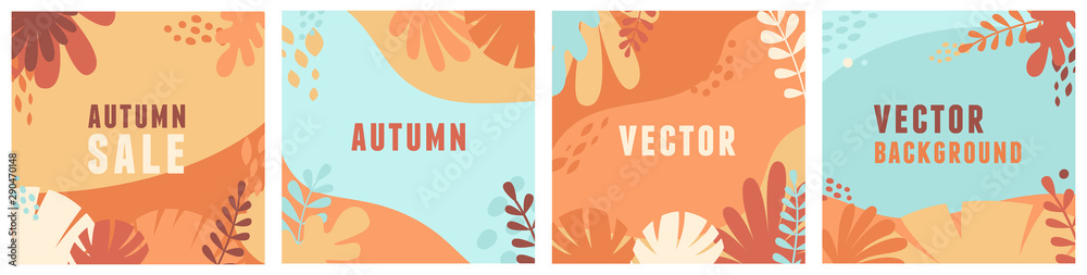 Fototapety, obrazy: Vector set of abstract backgrounds with copy space for text - autumn sale - bright vibrant banners, posters, cover design templates