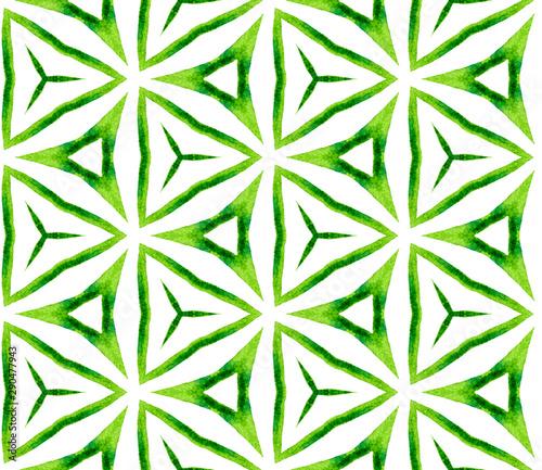 Fototapeten Künstlich Green kaleidoscope seamless pattern. Hand drawn wa
