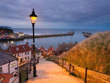 Whitby 199  Steps In North Yorkshire At Dusk