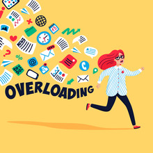 Input Overloading. Information Overload Concept. Young Woman Running Away From Information Stream. Concept Of Person Overwhelmed By Information. Colorful Vector Illustration In Flat Style.