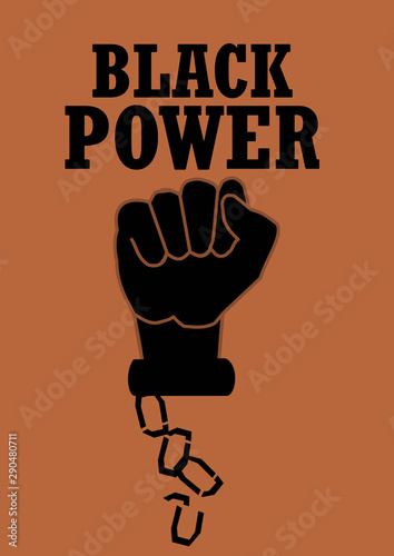 Black power hand with broken chains Fototapet