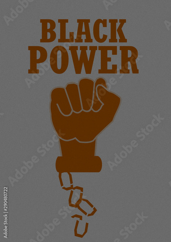 Vintage image of black power with broken chains Tablou Canvas