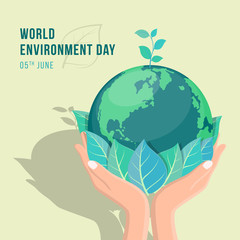 world environment day banner with hand hold leaf and seed plant on circle earth world vector design