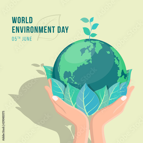 Obraz world environment day banner with hand hold leaf and seed plant on circle earth world vector design - fototapety do salonu
