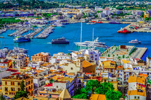 Ibiza Town. Ibiza.Spain . Panoramic View From The Walls Of The Castle Di Eivissa To The Port Of Ibiza And The Ferry