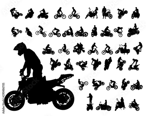 Fotomural Set of motor bike and man white background