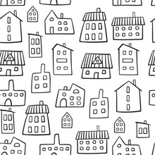 House Seamless Pattern. Doodle...