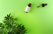 canvas print picture - Cannabis leaves and CBD oil bottle on green background.