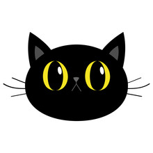 Black Cat Round Head Face Icon. Cute Funny Cartoon Character. Big Yellow Eyes. Sad Emotion. Kitty Whisker Baby Pet Collection. White Background. Isolated. Flat Design.