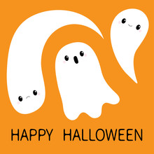 Three Flying Ghost Spirit Set. Boo. Happy Halloween. Scary White Baby Ghosts. Cute Cartoon Spooky Character. Smiling Face, Hands. Greeting Card. Flat Design. Orange Background.