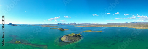 Panoramic view of Lake Myvatn in Northern Iceland.Aerial view Fototapete