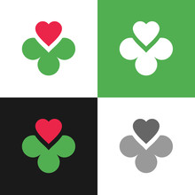 Clover Leaf And Heart Logo Icon, Four Leaves Clover Symbol - Vector