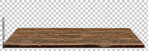 Fototapeta Perspective view of wood or wooden table top isolated on checkered background including clipping path obraz