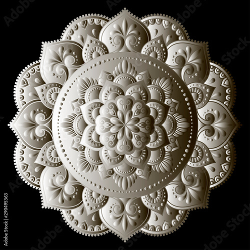 Valokuva Circular pattern in the form of a Mandala is made in the style of metal embossing
